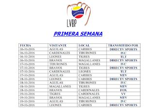 Calendario Completo del Beisbol Profesional Venezolano con las Transmisiones Televisivas LVBP 0