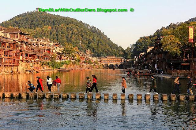 Stepping stones, Riverside, Phoenix Fenghuang County, Hunan, China