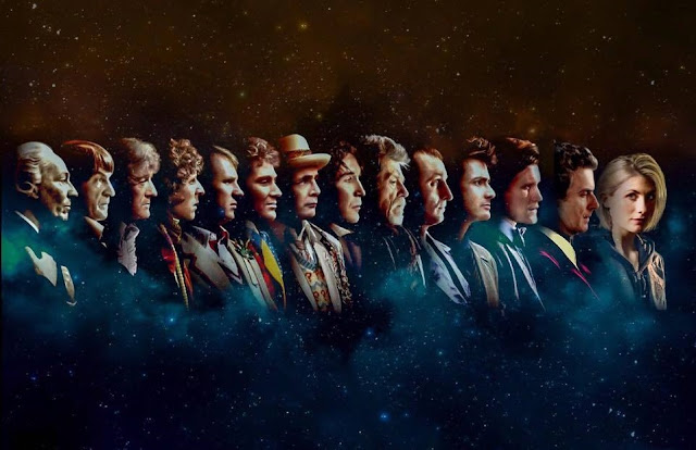 The thirteen Doctors – fourteen shown here (of many more)