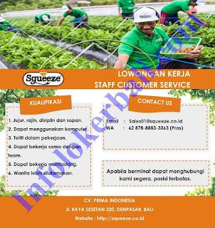 Info Lowongan Kerja Squeeze CV. Prima Indonesia Juni 2019