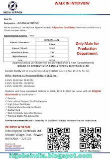 Diploma Apprenticeship to Polytechnic Candidates in India Nippon Electrical Ltd Rewari, Haryana