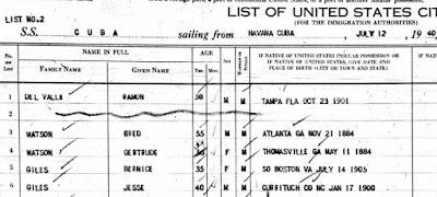 Jesse and Bernice Giles Passenger List from Cuba to Tampa 1940 https://jollettetc.blogspot.com
