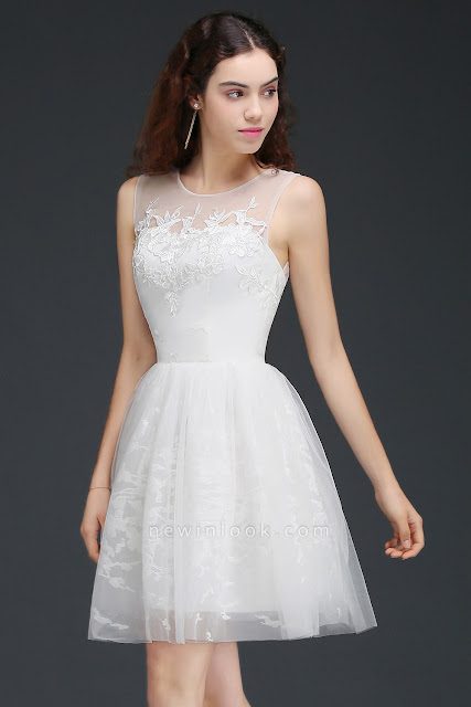 A Line Sheer Whit Short Tulle Dama Dresses With Lace