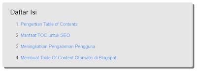 Cara Membuat TableHasil Akhir Dari Pembuatan Table Of Content Atau TOC Of Content Otomatis Pada Blogger