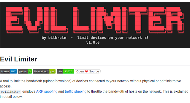أداة Evil Limiter التحكم في سرعة الانترنت أو قطعها
