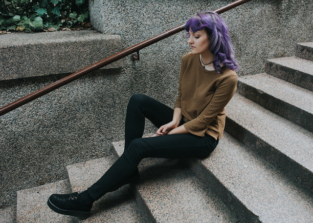 ootd amethyst hair black creepers