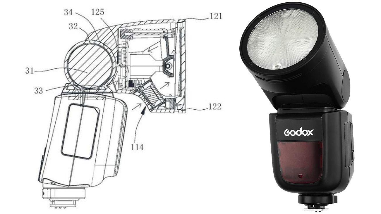 Вспышка Godox V1 и схематичной изображение вспышки из нового патента Godox