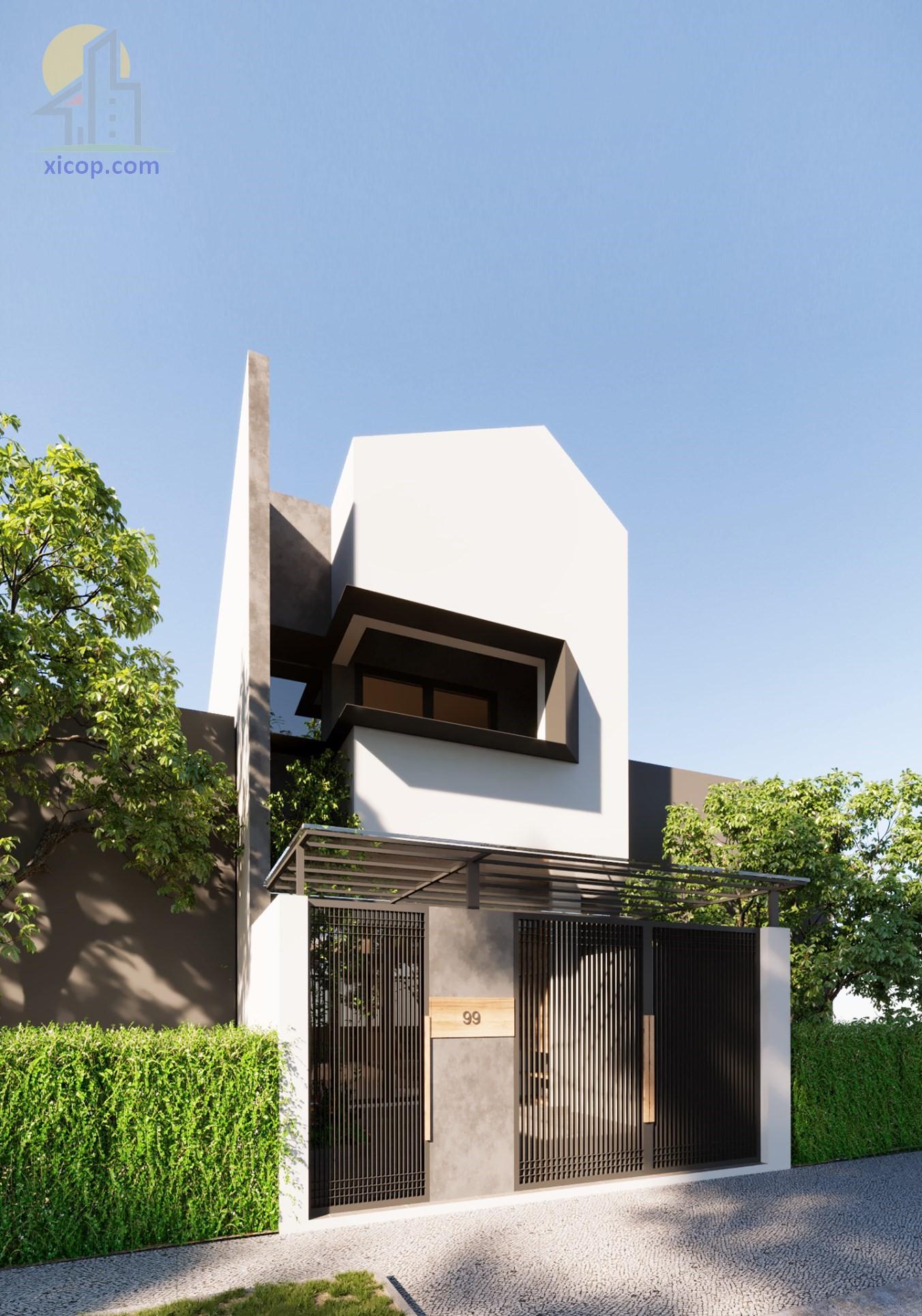 Nhà phố phong cách hiện đại theo thiết kế đẹp 3 tầng