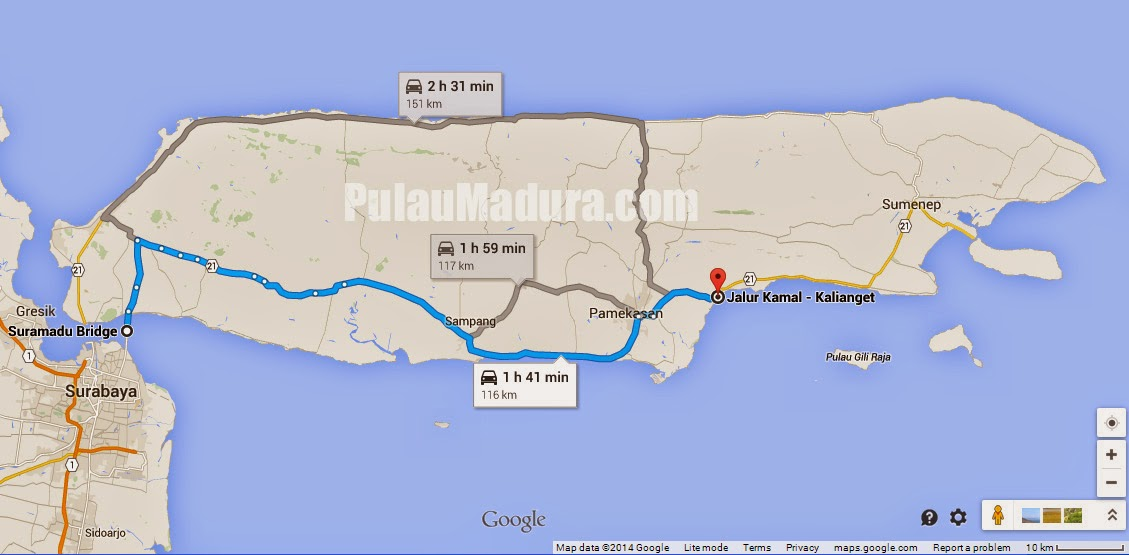 Peta Lokasi menuju Pantai Talang Siring Pamekasan