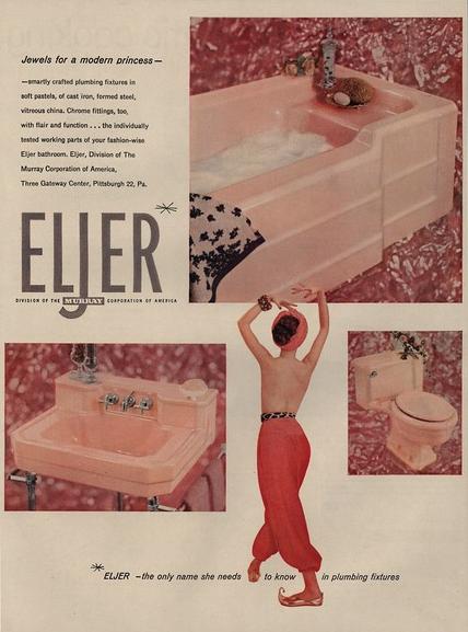 1955 Eljer Division Murray Pink Retro Bathtub Toilet Sink For Modern Princess Ad Latest Technology 1950-59 Merchandise & Memorabilia