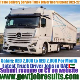 Taste Delivery Service HGV Truck Driver Recruitment 2021-22