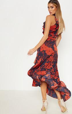navy floral print detail wrap maxi prom dress back side