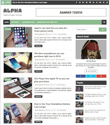 Alpha Adsense Responsive Blogger Templates Without Footer Credit