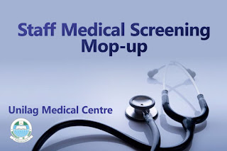 UNILAG Staff Medical Screening (SMS) Mop-Up Schedule - 2018