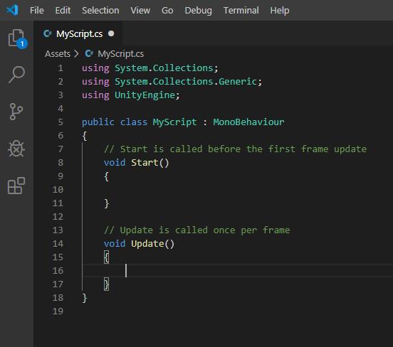 opened C# script in visual studio code