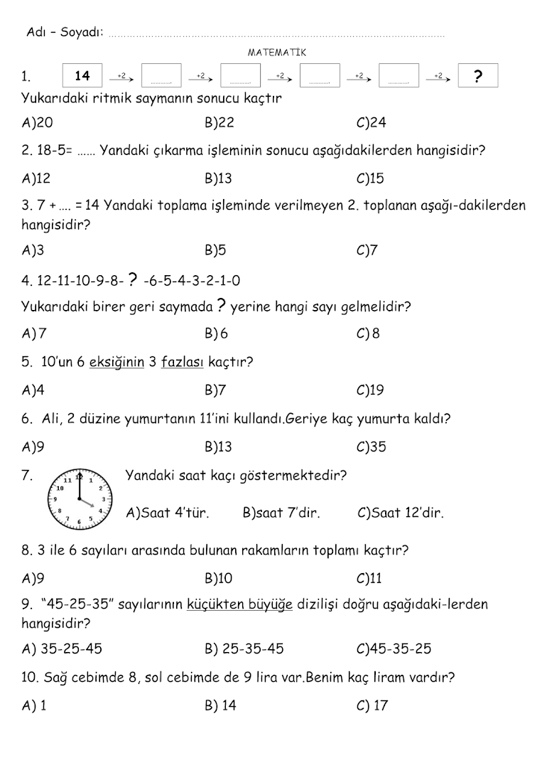 1 Sinif Matematik Test 5 Youtube Ilkokulu
