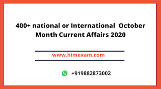 October Month Current Affairs 2020 (National+international )Pdf