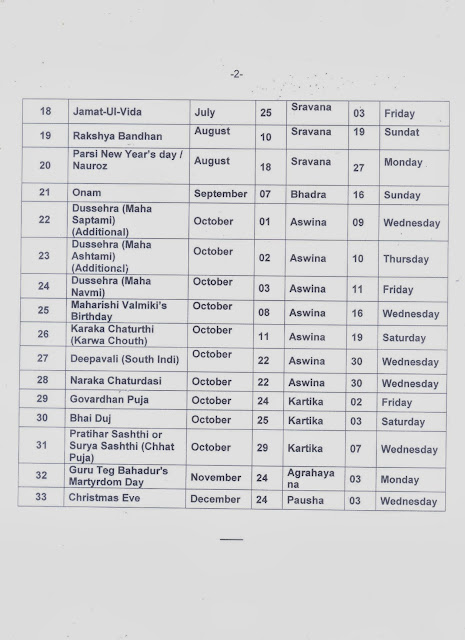 AIPEU,Gr.-C Bhubaneswar, Odisha: List of closed holidays