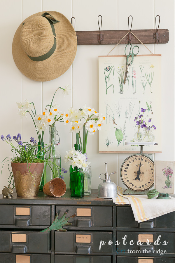 flowers, pots, and hats used as cottage garden decor
