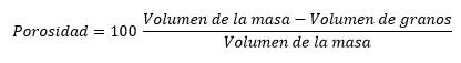El porcentaje de volumen de poros de una roca es su porosidad