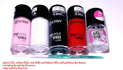 Products for Plaid Nail Design Tutorial: Black, White and Red on Pink Nail Art