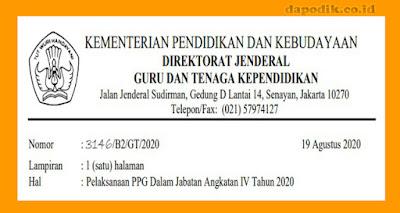 Pengumuman Berdasarkan Surat Pelaksanaan PPG Dalam Jabatan Angkatan IV Tahun 2020