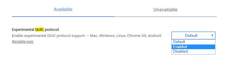 أفضل بروتوكول Quic التجريبي لأعلام Chrome#