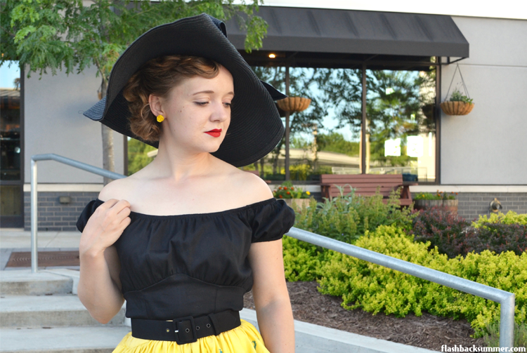 Flashback Summer: PUG Pinup Girl Clothing Jenny skirt Italian riviera & black peasant top