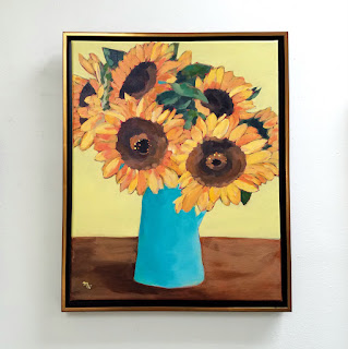 original sunflower painting acrylic on canvas framed by Merrill Weber