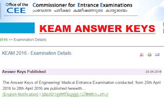 keam answer keys 2016
