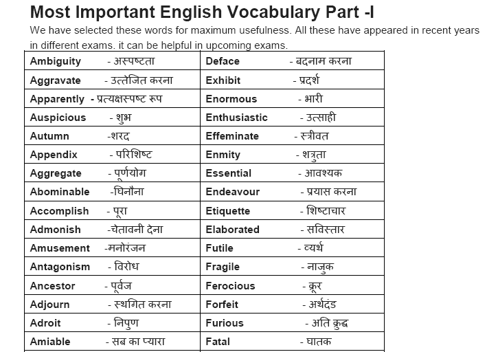Imágenes De English Word Meaning In Hindi List Pdf