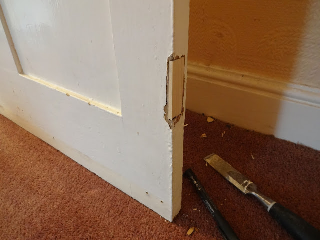 how to fill old hinges in door