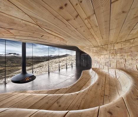 Die Wohngalerie Holzreicher Schwung In Norwegischer Hütte