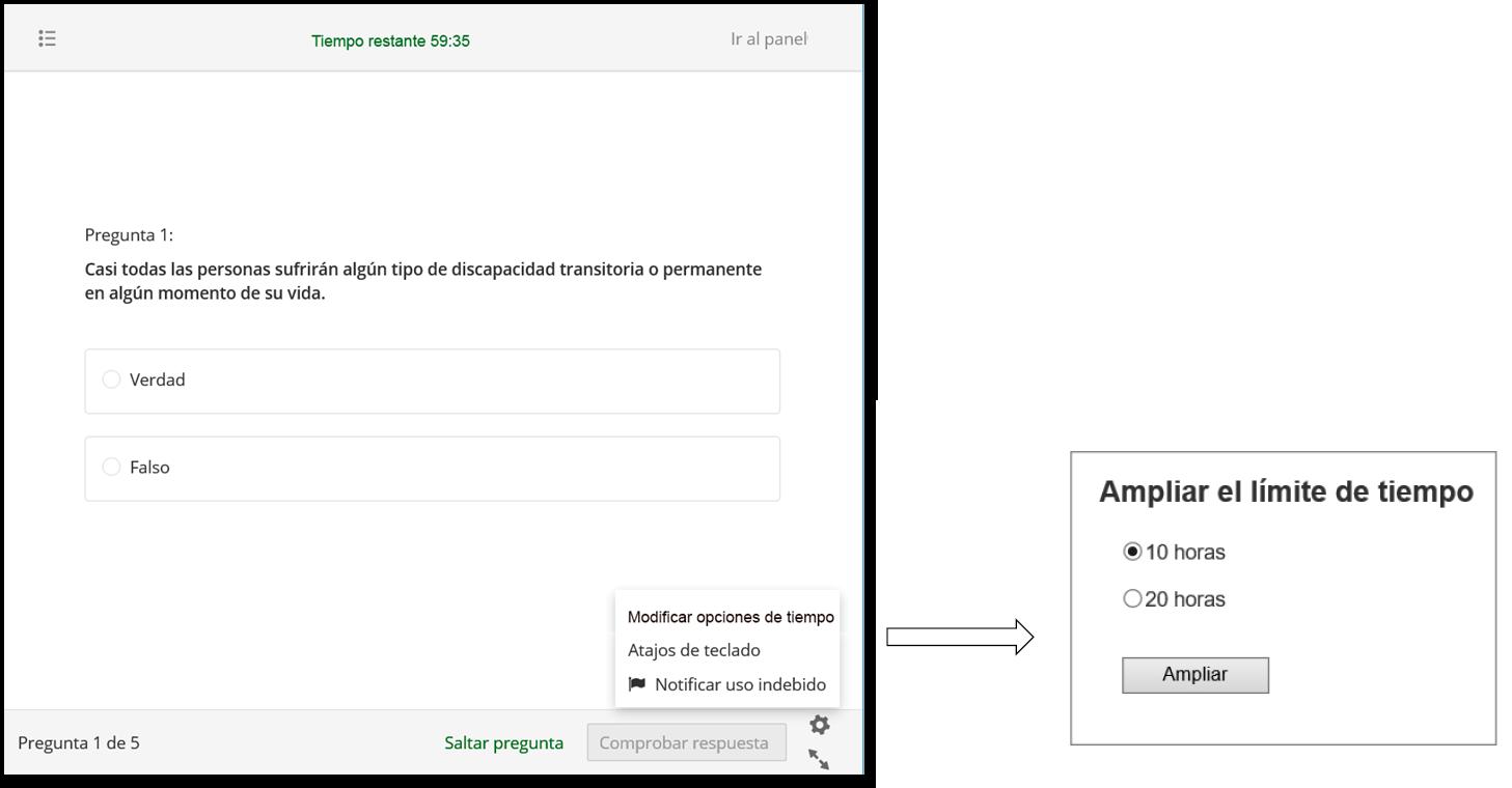 Examen online. La página tiene una opción de personalización 'Modificar el límite de tiempo' que permite ampliar el tiempo para realizar el examen.'