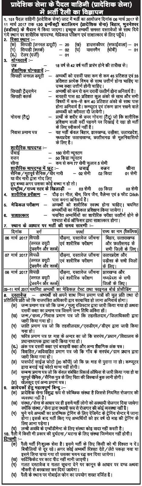 Territorial Army Recruitment Rally 2017 Soldier,Tailor,Housekeeper,Washerman 25 posts  6th March to 11th March 2017