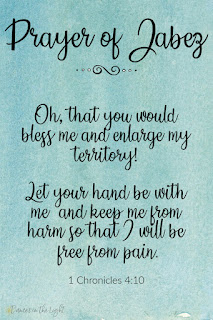 Oh, that you would bless me and enlarge my territory! Let your hand be with me and keep me from harm so that I will be free from pain. 1 Chronicles 4:10
