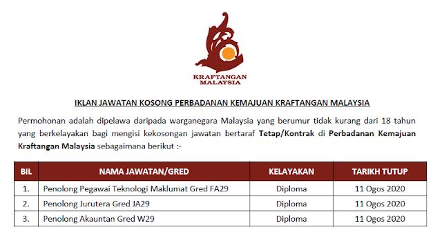 jawatan kosong kraftangan malaysia