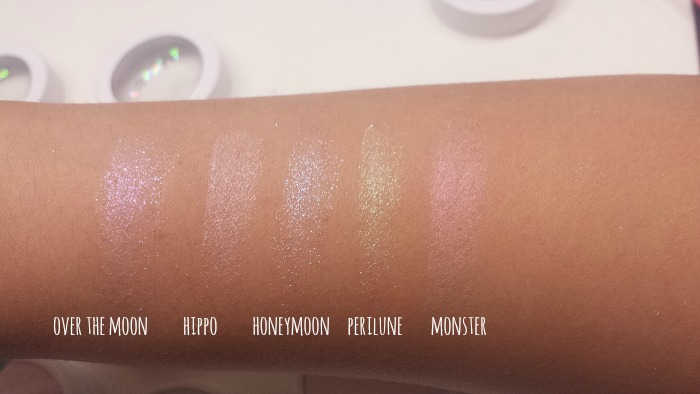 colourpop fall 2016 haul, colourpop highlighter over the moon, hippp, honeymoon, perilune, and monster swatches