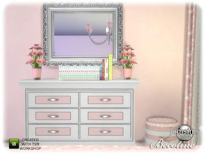Becotine bedroom Бекотин спальня для The Sims 4 вуаль, мягкость и дерево. двуспальная кровать, журнальный столик, потолок lgiht, настенное зеркало, одеяло кровать. изголовье кровати. сверху поставить на стену. настольная лампа. шторы. тумба. цветы Автор: jomsims