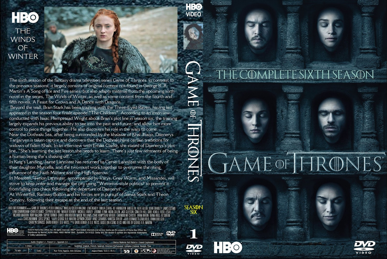 Capa DVD Game Of Thrones Sexta Temporada D1 a D3