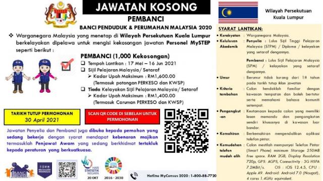 Jawatan Kosong Jabatan Perangkaan Malaysia (PEMBANCI 1000 KEKOSONGAN)