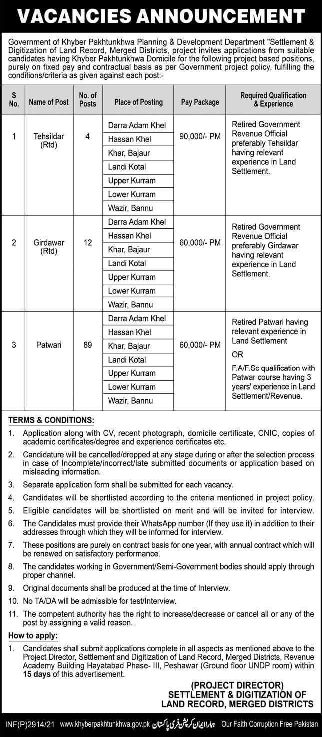 Latest Planning and Development Department KPK Jobs 2021