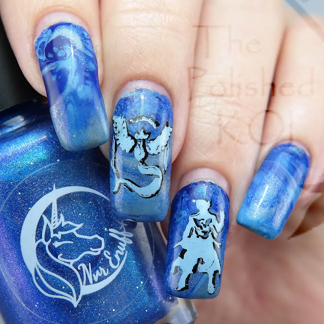 Blue Fluid Nail Art Team Mystic Articuno Pokemon Go