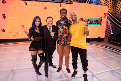 Tati Zaqui, Raul, MC Kekel e MC Zaac em Funkeirinhos (Crédito: Rodrigo Belentani /SBT)