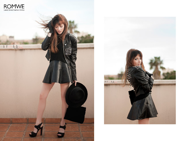 ROMWE Outfit Negro Tachuelas Pinchos Falda Dark Girl Rock Cazadora de polipiel. Be fashion. Be beauty.