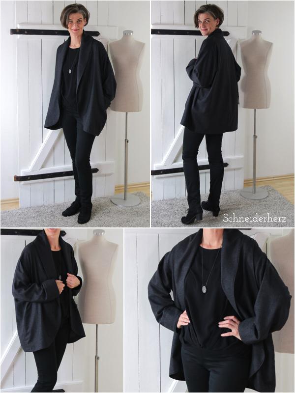 Jacke Oversize Burda Style 11/2015  aus leichtem Wollstoff