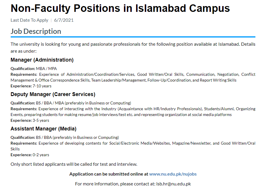 FAST University Islamabad Jobs 2021 Apply Online