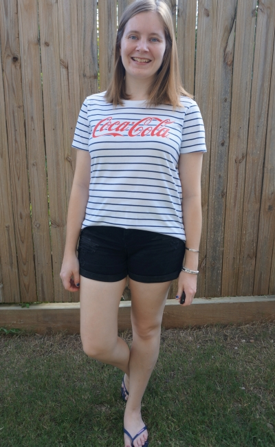 thrifted navy stripe Coca-Cola logo tee with black denim shorts stay at home mum isolation style | awayfromblue