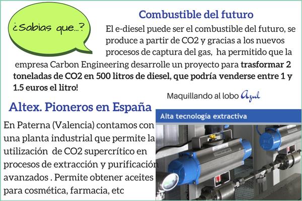 Usos del CO2 para fabricar e-diesel o en Altex donde se trabaja con CO2 supercrítico
