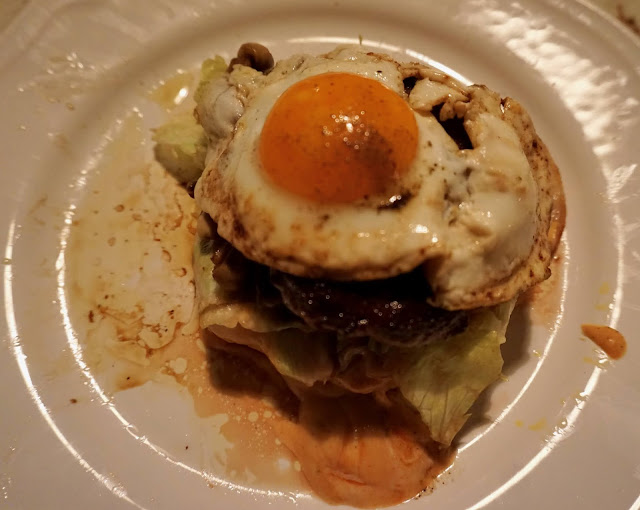 """New Kreation: Swisstralian CheeseBurger with mushrooms, onion, and toppled with a runny """"orange"""" fried-egg"""